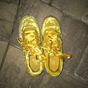 Nike Shoes - Nike Air Force 1 Yellow Velvet